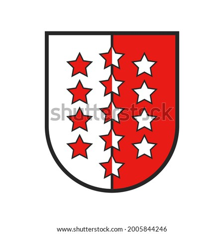 Switzerland canton flag and Swiss coat of arms, vector Valais state sign shield, vector. Schweiz kanton or Swiss canton crest and heraldry symbol, heraldic armorial badge, red and white stars shield