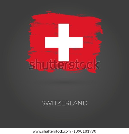 Switzerland colorful brush strokes painted national country flag icon. Painted texture.