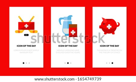 Switzerland culture flat icon set. Swiss, chocolate, souvenir isolated vector sign pack. Tourism and tradition concept. Vector illustration symbol elements for web design and apps