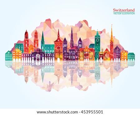switzerland detailed skyline