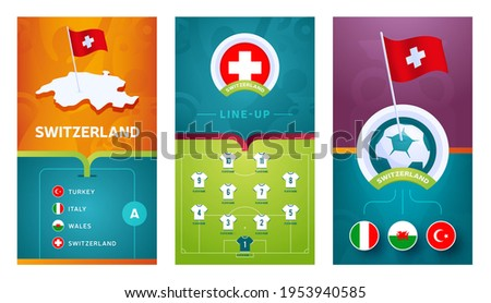 switzerland European 2020 football vertical banner set for social media. euro 2020 Switzerland group A banner with isometric map, pin flag, match schedule and line-up on soccer field