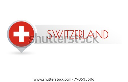 Switzerland flag. Circle flag button in the map marker shape. Swiss country icon, badge or banner. Vector illustration.