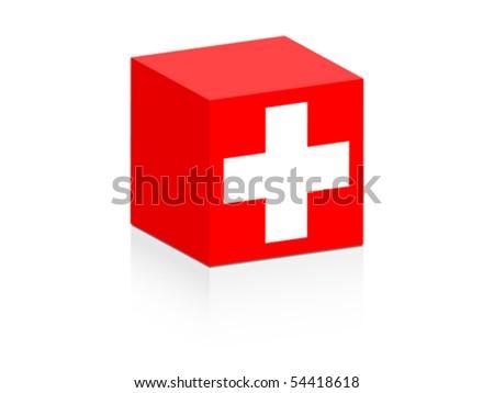switzerland flag on box
