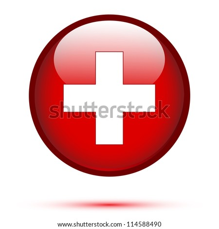 Switzerland flag on button isolated on white
