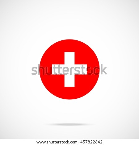 Switzerland flag round icon. National swiss flag icon in circle with accurate official color scheme. Premium quality. Vector illustration isolated on gradient background
