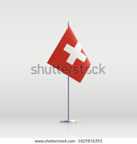 Switzerland flag state symbol isolated on background national banner. Greeting card National Independence Day of the Swiss Confederation. Illustration banner with realistic Switzerland state flag. Сток-фото ©