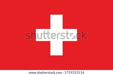 Switzerland flag vector graphic. Rectangle Swiss flag illustration. Switzerland country flag is a symbol of freedom, patriotism and independence. stock photo