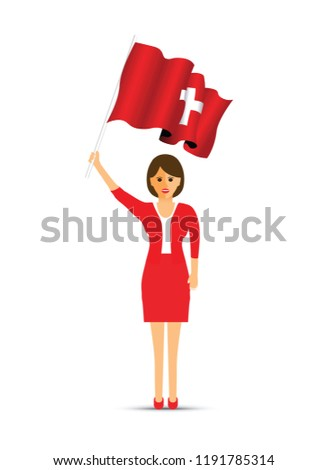 Switzerland flag waving woman