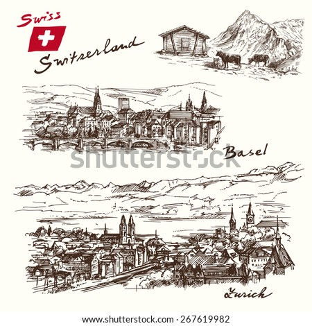 switzerland   han drawn set