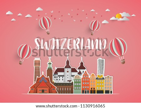 Switzerland Landmark Global Travel And Journey paper background. Vector Design Template.used for your advertisement, book, banner, template, travel business or presentation #1130916065