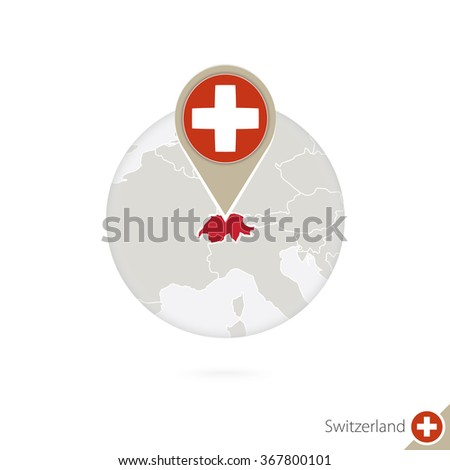 switzerland map and flag in