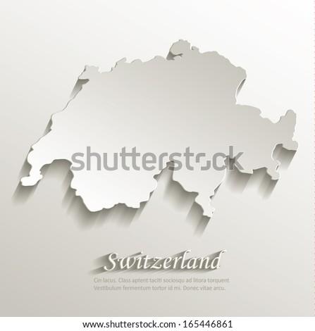 switzerland map card paper 3d