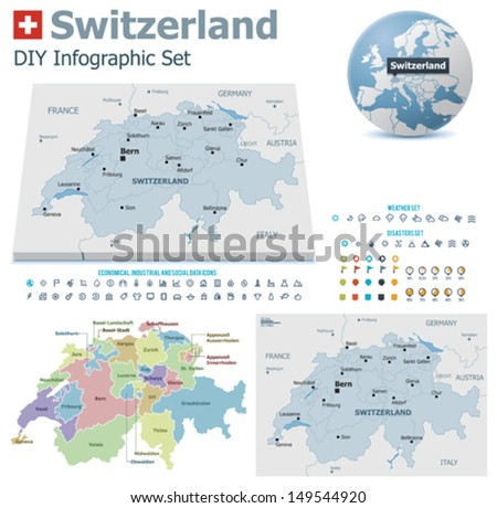 switzerland maps with markers