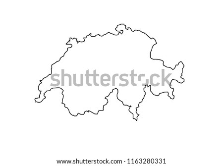 Switzerland outline map national borders country shape