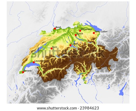 Switzerland. Physical vector map, colored according to elevation, with rivers and selected cities. Surrounding territory greyed out. 55 named layers, fully editable. Data source: NASA