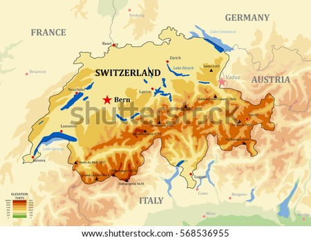 switzerland physical vector map with main cities lakes and peaks