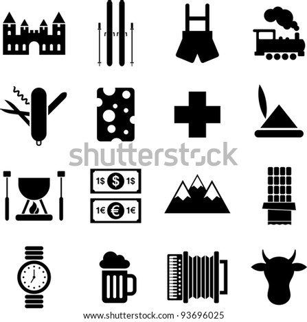 Switzerland pictograms - stock vector