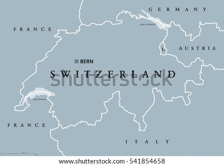 switzerland political map with