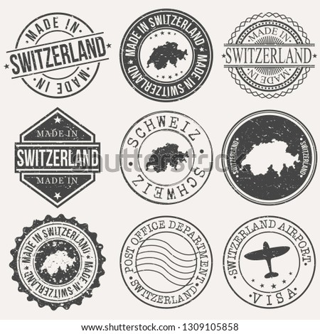 Switzerland Set of Stamps. Travel Stamp. Made In Product. Design Seals Old Style Insignia.