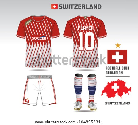 649b7e17a Switzerland soccer jersey or team apparel template. Mock up Football uniform  for football club.