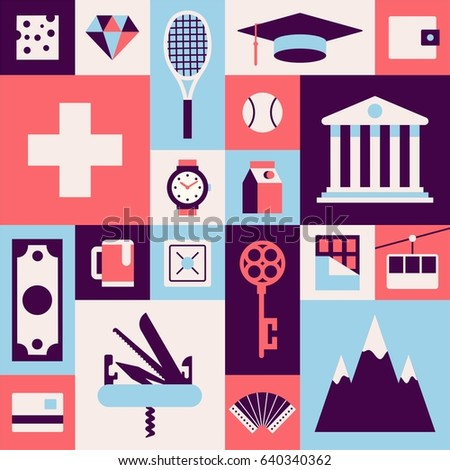 Switzerland, vector travel illustration, flat icon set, color background. Flag, swiss cheese, diamond, clock, milk, bank, tennis, education, wallet, money, penknife, beer, key, chocolate, mountain
