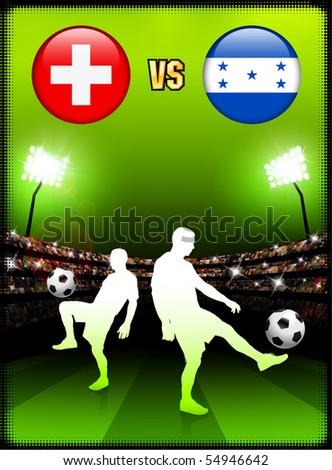Switzerland versus Honduras on Stadium Event Background Original Illustration