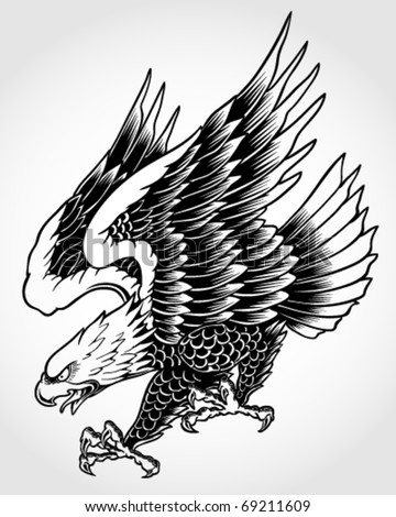 Swooping Tattoo Eagle - stock vector