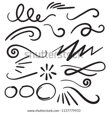 Swoosh Curls Swash Swish with Scribbles and Squiggle Swooshes, Swashes & Swishes