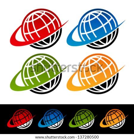 Swoosh Earth Logo Icons