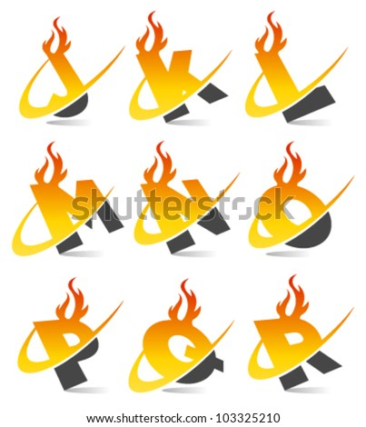 Swoosh flame logo alphabet set 2