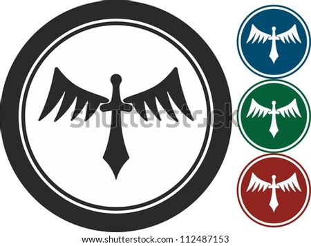 Sword With Wings Logo Sword And Wings Vector Icon