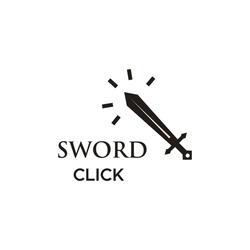 Sword Click Logo design Concept for Company, Club, Community, Store and website. vector EPS 10