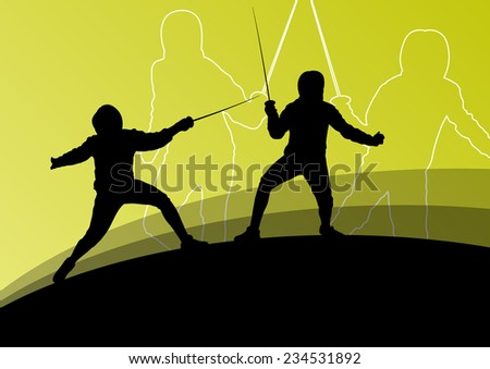 Sword fighters active young men and women fencing sport silhouettes vector abstract background illustration