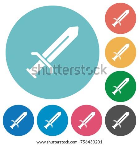 sword flat white icons on round