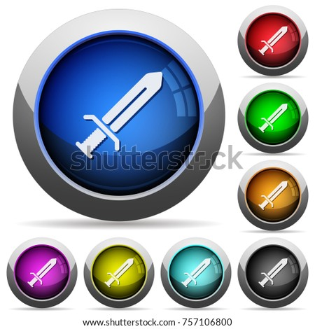 sword icons in round glossy