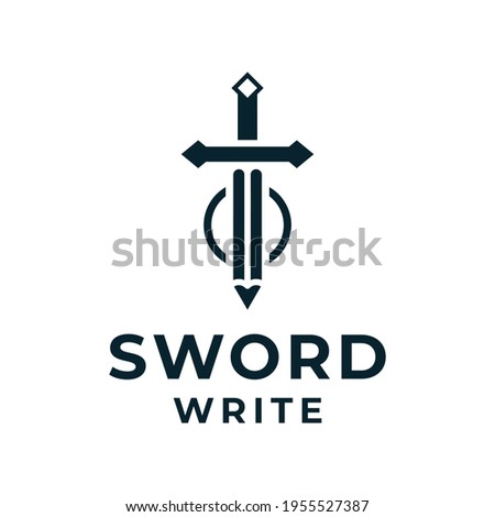 Sword pencil logo vector for business and branding. Logo can be used for icon, brand, identity, knight, warrior, education, security, army, and business company Photo stock ©