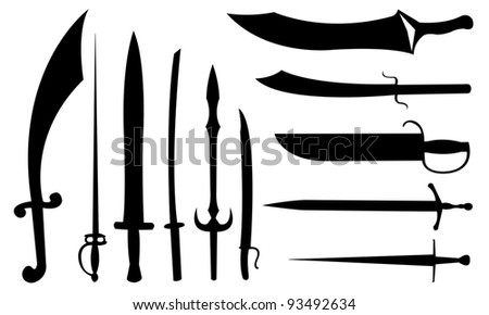 sword set isolated on white