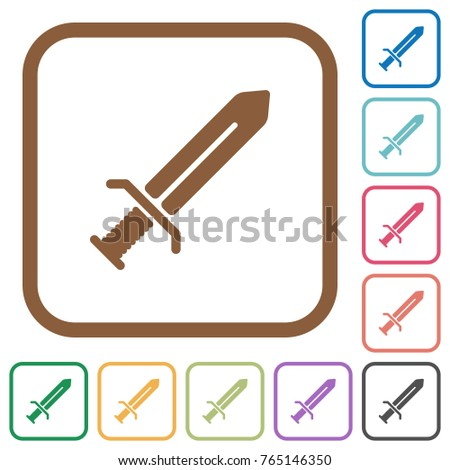sword simple icons in color