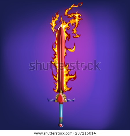sword with fire flames vector