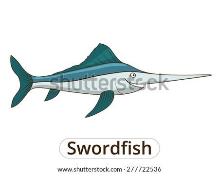 Swordfish underwater animal cartoon illustration for children