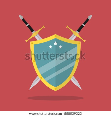 swords and shield flat style