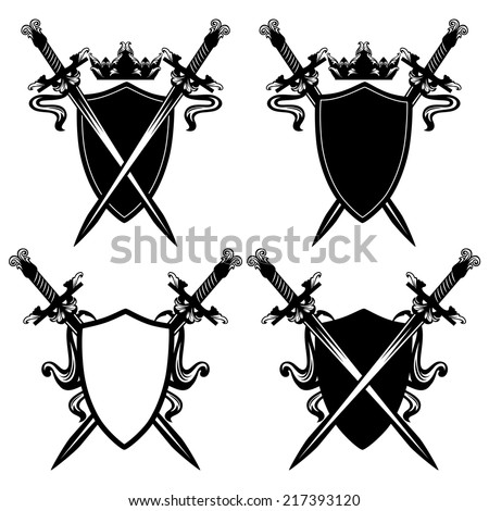 swords and shields with crown