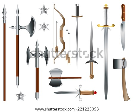 swords  axes and bow medieval