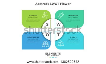 swot abstract flower chart with