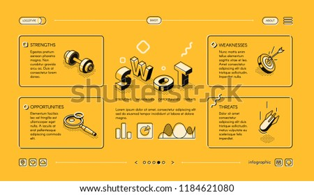 Swot analysis business vector illustration in isometric thin line design on yellow halftone background. diagram charts template of company management elements of risks and strength strategy