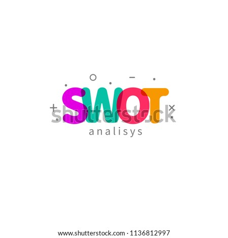 Swot analysis, color word swot, lettering of letters of swot analysis. Vector illustration