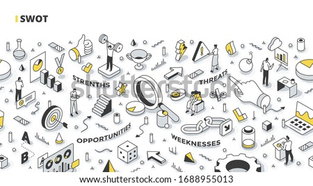 SWOT analysis concept. Develop company strategy, defining and organizing strengths, weaknesses, opportunities, and threats. Business planning process. Outline isometric illustration