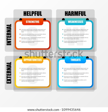 SWOT Analysis. Infographic with four steps. Vector illustration