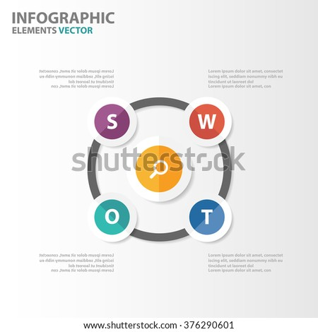Swot analysis model Infographic elements presentation templates flat design set for brochure flyer leaflet marketing advertising