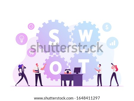 Swot, Analysis, Strengths, Weaknesses, Opportunities, Threats Concept. Businesspeople Working around Huge Cogwheels, Tired Businessman Lying on Desk with Computer. Cartoon Flat Vector Illustration
